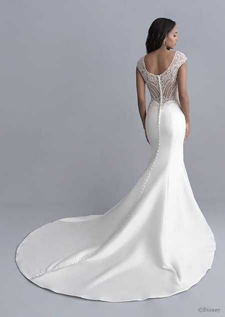 A back side view of a woman wearing the Jasmine wedding gown from the 2020 Disney Fairy Tale Weddings Platinum Collection