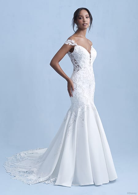A woman wearing the Jasmine wedding gown from the 2021 Disney Fairy Tale Weddings Collection
