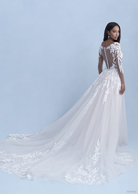 A back side view of a woman wearing the Pocahontas wedding gown from the 2021 Disney Fairy Tale Weddings
