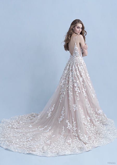 A back side view of a woman in the Snow White wedding gown from the 2021 Disney Fairy Tale Weddings