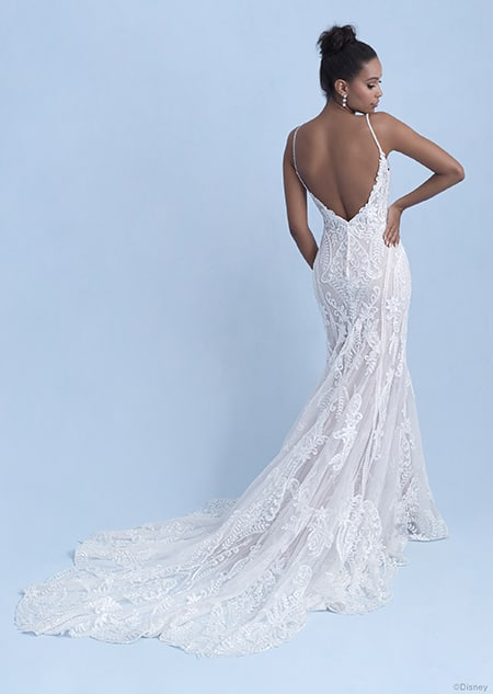 A back side view of a woman in the Tiana wedding gown from the 2021 Disney Fairy Tale Weddings Collection