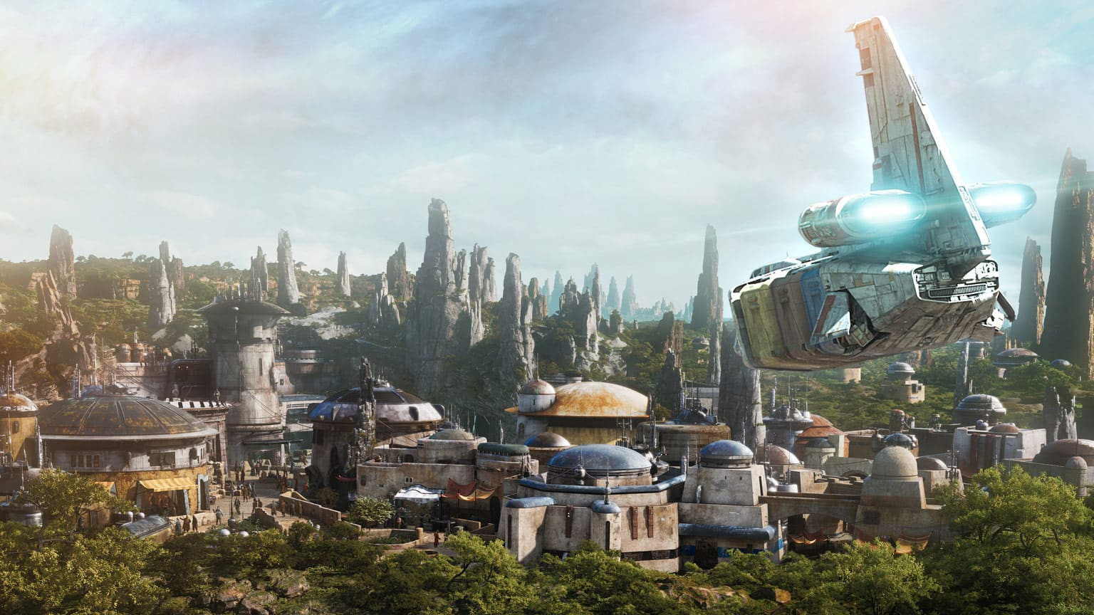 An artist rendering of Black Spire Outpost on the Planet Batuu, part of Star Wars: Galaxy's Edge