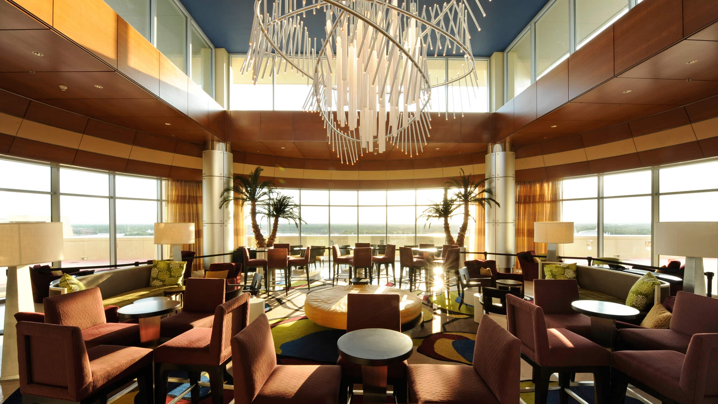 The interior of Top of the World Lounge