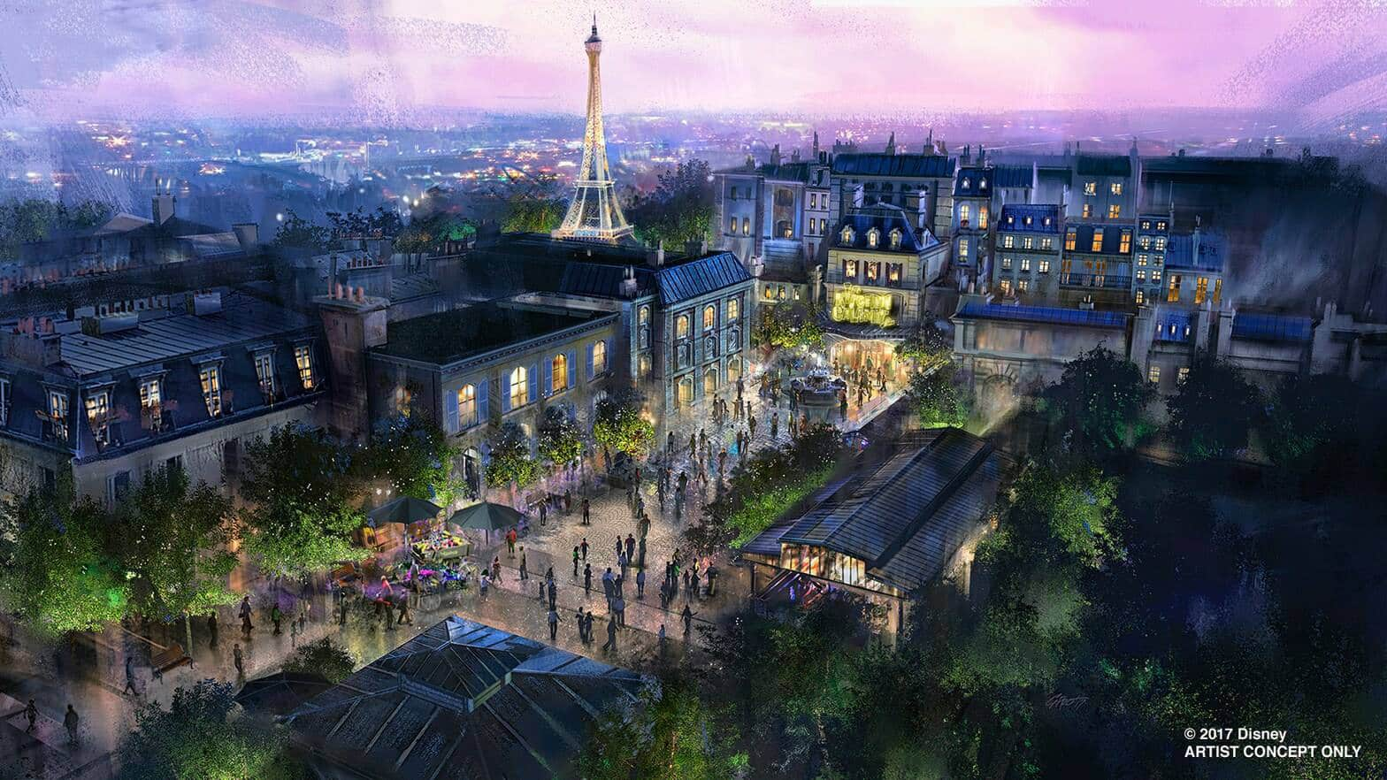 An artist rendering of the France Pavilion at Epcot