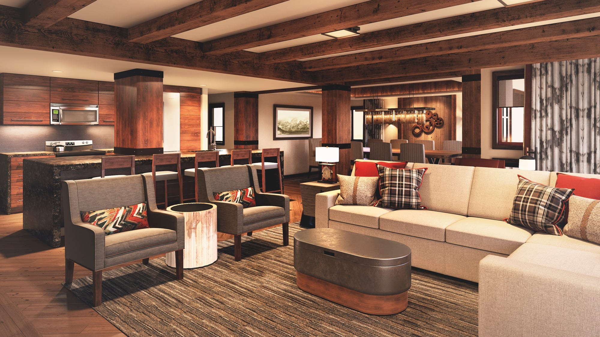 The living area, dining area and kitchen of a Disney Vacation Club Resort villa