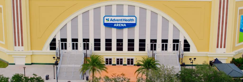 Entrance to the Advent Health Arena at Disney's Wide World of Sports Complex