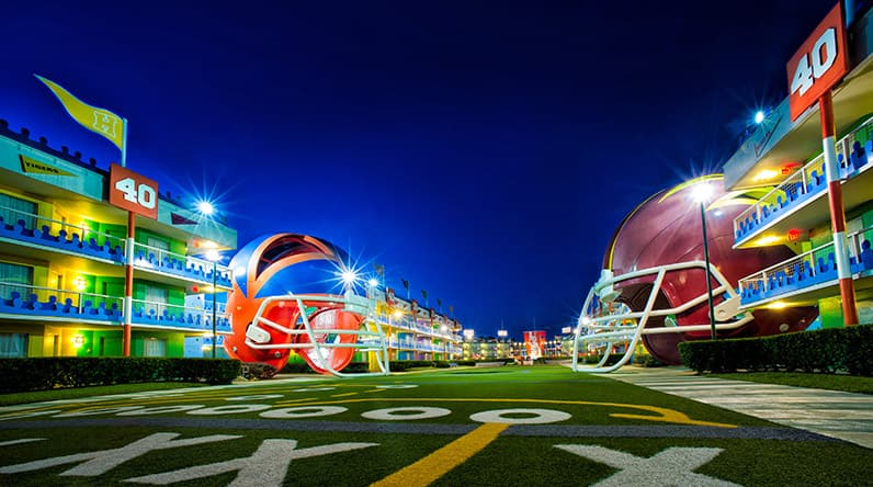 Two giant helmets in the outdoor Touchdown! section of Disney's All-Star Sports Resort