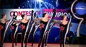 Young cheerleaders perform maneuvers