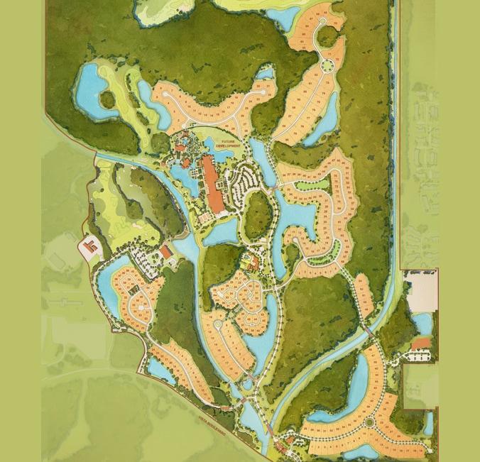 A map of Golden Oak featuring 6 neighborhoods